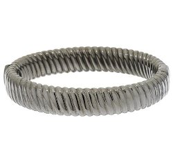 Sterling Ribbed Twist Oval Hinged Bangle by VicenzaSilver in The Loft