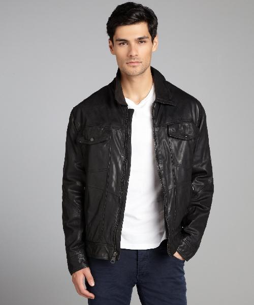 Black Leather 'Westside' Zip Front Cargo Jacket by ANDREW MARC in Sabotage
