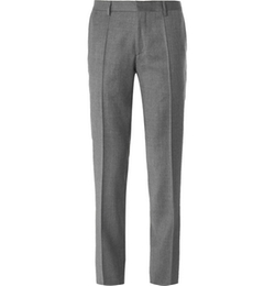 Grey Slim Fit Virgin Wool Flannel Trousers by Hugo Boss in The Blacklist