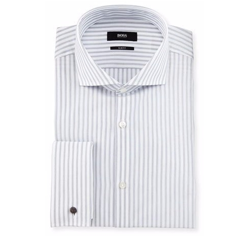 Jaiden Slim-Fit Track-Stripe French-Cuff Dress Shirt by Boss Hugo Boss in The Good Place