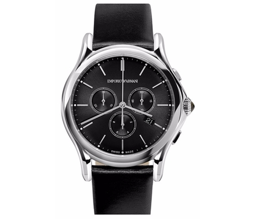 Chronograph Leather Strap Watch by Emporio Armani Swiss Made in Ballers - Season 2 Preview