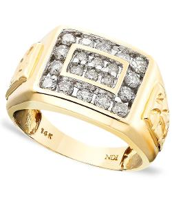 Men's 14k Gold Ring, Diamond by Macy's in Get On Up