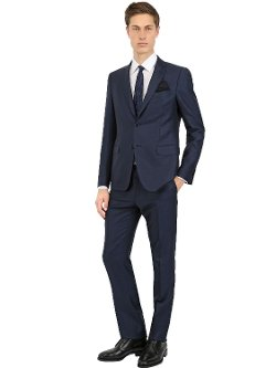Wool & Mohair Blend Canvas Suit by Salvatore Ferragamo in Begin Again