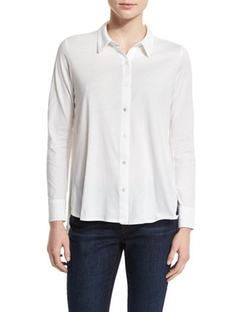 High-Low Button-Front Shirt by Eileen Fisher in Suits