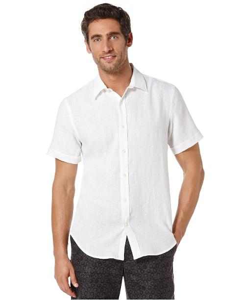 Short Sleeve Solid Linen Shirt by Perry Ellis in Jersey Boys