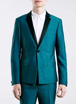 Teal Skinny Fit Tux Jacket by Topman in Pretty Little Liars