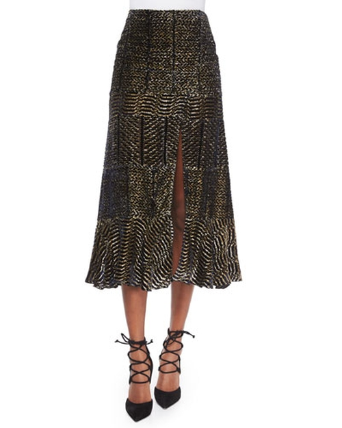 Paneled Velvet Metallic Devore Slit Midi Skirt by Altuzarra in Keeping Up With The Kardashians - Season 11 Episode 11