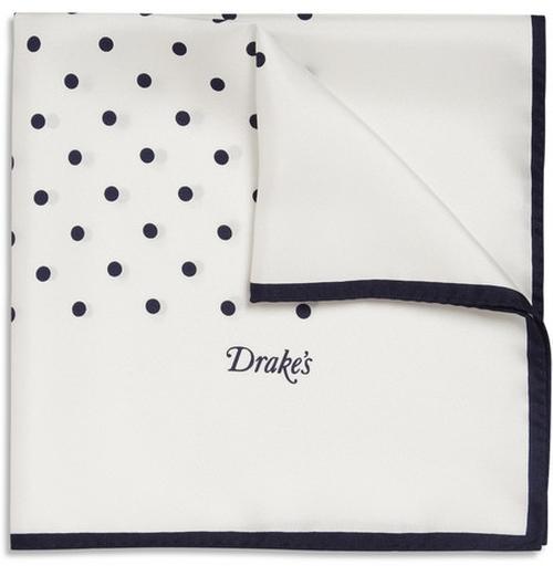 Polka-Dot Silk Pocket Square by Drake's in Ballers - Season 1 Episode 10
