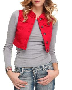 Women Crop Denim Vest by Basic Essentials in Step Up: All In