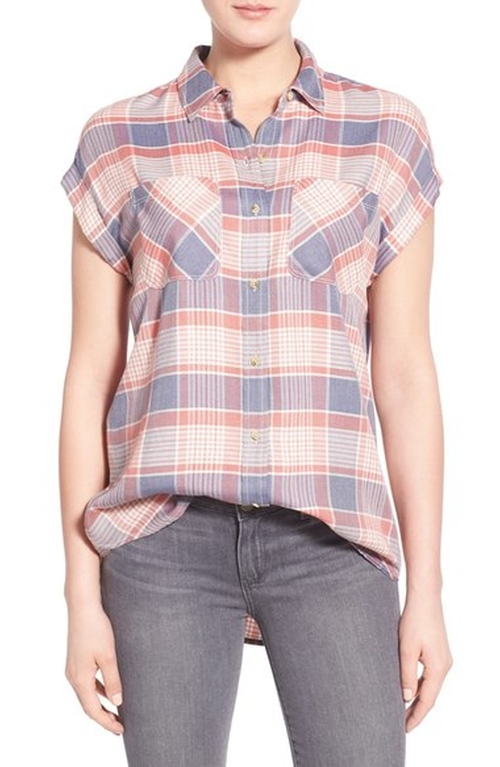 Drapey Plaid Shirt by Treasure&Bond in Mistresses - Season 4 Episode 13