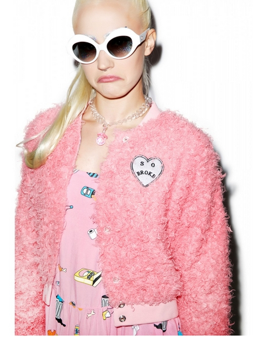 Fluffy Pink Bomber Jacket by Dolls Kill in Scream Queens - Season 1 Episode 3