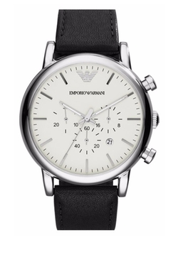 Chronograph Leather Strap Watch by Emporio Armani in The Blacklist