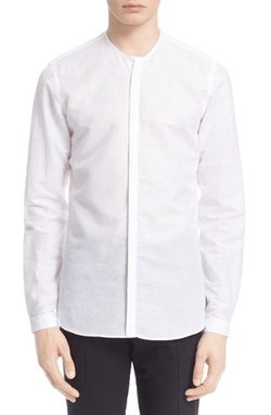 Men's The Kooples Trim Fit Collarless Linen & Cotton Shirt by The Kooples in Empire