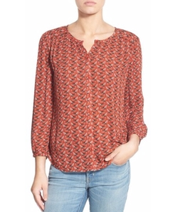 Print Button Front Blouse by Hinge in Speechless