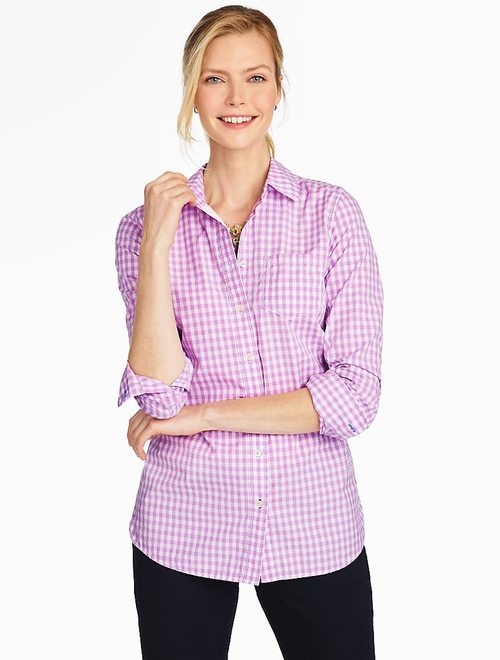 Poplin Button Front-Gingham Shirt by Talbots in Fuller House - Season 1 Episode 1