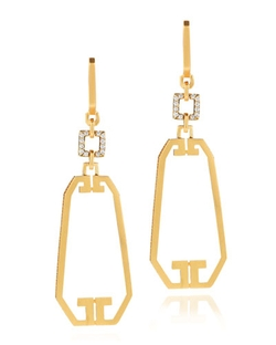 Metropolis Open Long Octagon Diamond Earrings by Ivanka Trump in Quantico