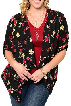 Women's Floral Print Chiffon Cinched Sleeve Open Cardigan by DHStyles in If I Stay