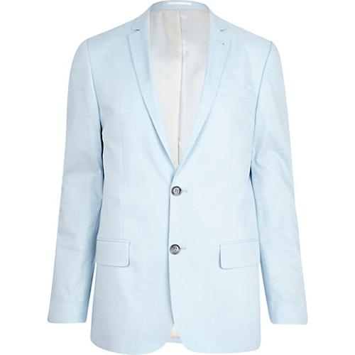 Light Blue Skinny Suit Jacket by River Island in Pain & Gain