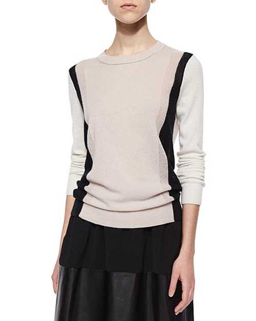 Two-Tone Knit Cashmere Sweater by Vince in How To Get Away With Murder - Season 2 Episode 4