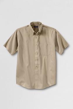 Men's Dress Code Big Short Sleeve Performance Twill Shirt by LANDS' END in Jersey Boys