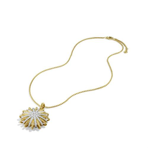 Starburst Large Pendant with Diamonds in Gold on Chain by The Starburst Collection in What If