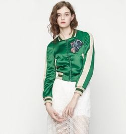 Bacary Varsity-Style Two-Tone Satin Jacket by Maje in Pretty Little Liars