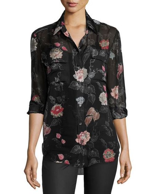 Signature Floral-Print Silk Shirt by Equipment  in Pretty Little Liars - Season 7 Episode 6