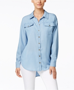 Chambray Button-Front Tunic Shirt by G.H. Bass & Co.  in Mistresses