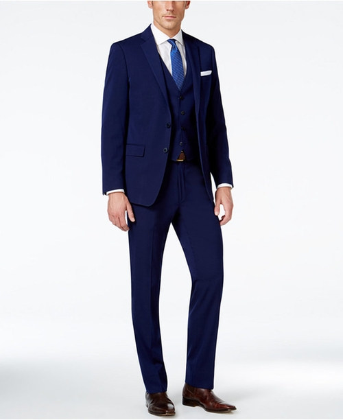 X-Fit Navy Solid Extra Slim-Fit Vested Suit by Calvin Klein in Power - Season 3 Preview