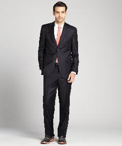 Black Striped Loro Piano Wool Two-Button Suit With Flat Front Pants by JACK VICTOR STUDIO in Transcendence