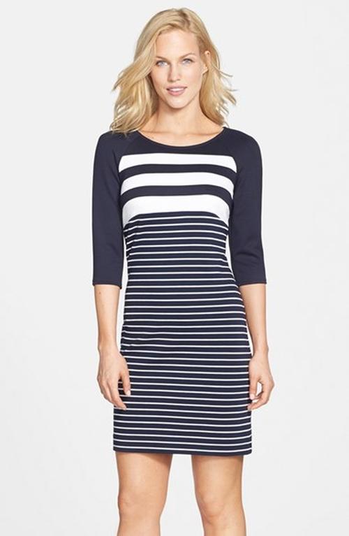 Mixed Stripe Knit Sheath Dress by Julia Jordan in The Good Wife - Season 7 Episode 11