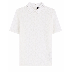 Lace Polo Shirt With Embellished Collar by The Kooples in The Flash