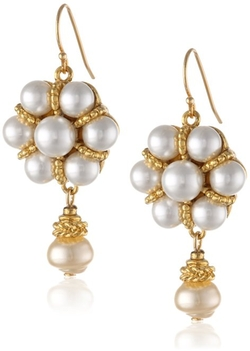 Gold-Tone And Faux-Pearl Cluster Earrings by Ben-Amun in The Man from U.N.C.L.E.