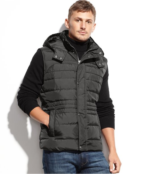 Decker Hooded Ultra Down Puffer Vest by Marc New York in Run All Night