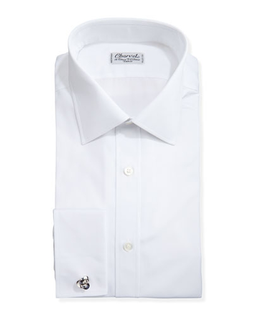 Solid Poplin French-Cuff Shirt by Charvet in Self/Less