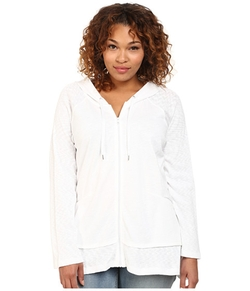 Plus Size Zip Front Hoodie by DKNY Jeans in Clueless