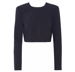 Cropped Pinstriped Stretch Wool-Blend Top by DKNY in Mistresses