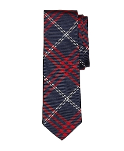 Red and Navy Plaid Tie by Brooks Brothers in Self/Less