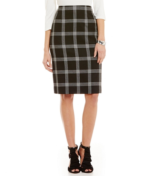 Windowpane Plaid Pencil Skirt by Pendleton in Arrow