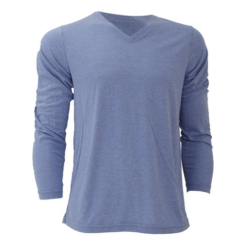Triblend Long Sleeve V-Neck T-Shirt by Canvas in Entourage