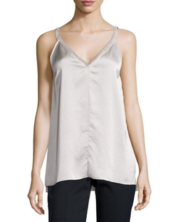 Fringe-Trimmed Satin Cami Top by ATM Anthony Thomas Melillo in Arrow