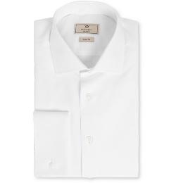 Mayfair White Cotton Tuxedo Shirt by Hackett in Spy