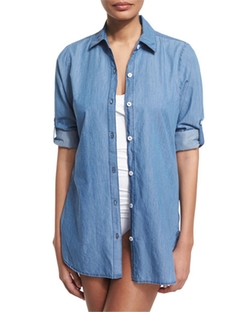 Chambray Boyfriend Coverup Shirt by Tommy Bahama in A Bigger Splash
