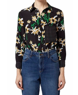 'Daisy' Print Silk Shirt by Topshop Boutique in Grace and Frankie