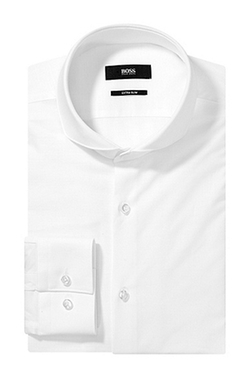Collar Itallian Cotton Dress Shirt by Boss in Black Mass