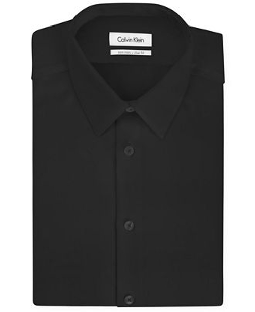 Slim-Fit Non-Iron Textured Solid Dress Shirt by Calvin Klein in Mean Girls