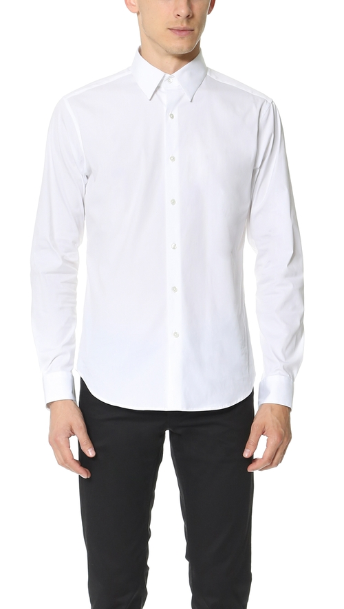 Sylvain Solid Dress Shirt by Theory in Black Mass