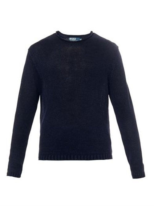 Crew-Neck Navy Linen Sweater by Polo Ralph Lauren in That Awkward Moment
