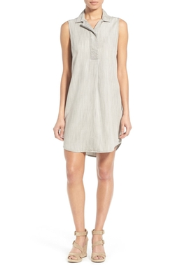 Sleeveless Chambray Shirtdress by Foxcroft in Gold