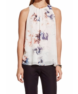 Print Pleat Neck Blouse by Vince Camuto in New Girl